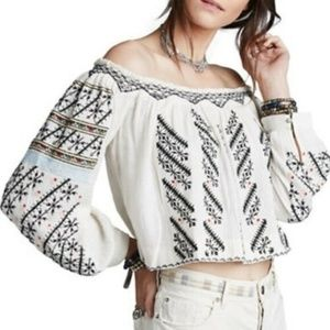 Free People All I Need Embroidered Blouse Top L